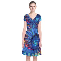 Top Peacock Feathers Short Sleeve Front Wrap Dress