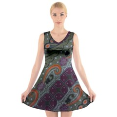 Batik Art Pattern  V Neck Sleeveless Skater Dress