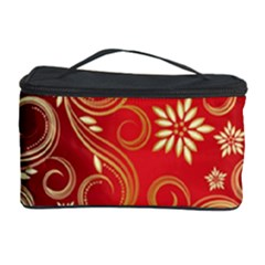 Golden Swirls Floral Pattern Cosmetic Storage Case by BangZart