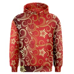 Golden Swirls Floral Pattern Men s Pullover Hoodie by BangZart