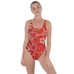 Golden Swirls Floral Pattern Bring Sexy Back Swimsuit