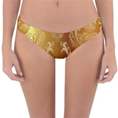 Golden Pattern Vintage Gradient Vector Reversible Hipster Bikini Bottoms by BangZart