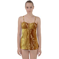 Golden Pattern Vintage Gradient Vector Babydoll Tankini Set