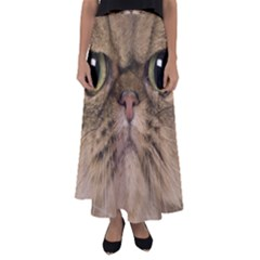 Cute Persian Catface In Closeup Flared Maxi Skirt