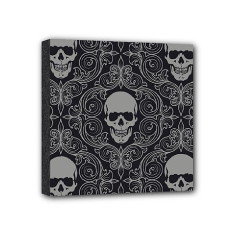 Dark Horror Skulls Pattern Mini Canvas 4  X 4
