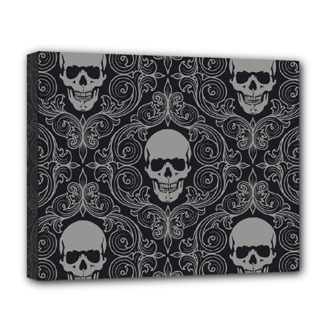 Dark Horror Skulls Pattern Deluxe Canvas 20  X 16   by BangZart