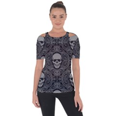 Dark Horror Skulls Pattern Short Sleeve Top