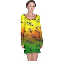 Insect Pattern Long Sleeve Nightdress
