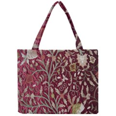 Crewel Fabric Tree Of Life Maroon Mini Tote Bag