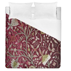 Crewel Fabric Tree Of Life Maroon Duvet Cover (queen Size) by BangZart