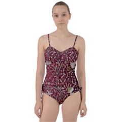 Crewel Fabric Tree Of Life Maroon Sweetheart Tankini Set