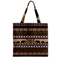 Elephant African Vector Pattern Zipper Grocery Tote Bag by BangZart
