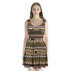 Elephant African Vector Pattern Split Back Mini Dress