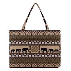 Elephant African Vector Pattern Medium Tote Bag