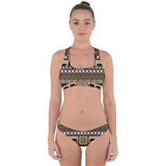 Elephant African Vector Pattern Cross Back Hipster Bikini Set