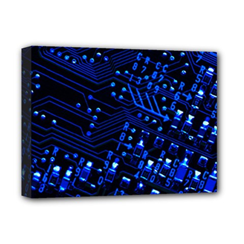 Blue Circuit Technology Image Deluxe Canvas 16  X 12   by BangZart