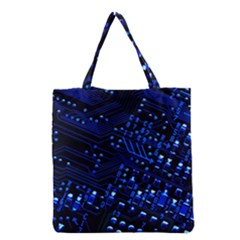 Blue Circuit Technology Image Grocery Tote Bag by BangZart