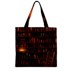 Books Library Zipper Grocery Tote Bag by BangZart