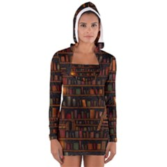 Books Library Long Sleeve Hooded T Shirt