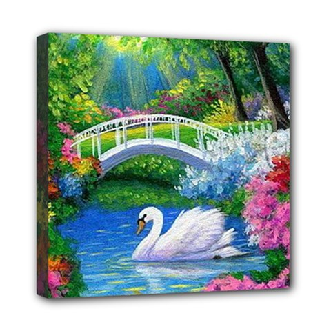 Swan Bird Spring Flowers Trees Lake Pond Landscape Original Aceo Painting Art Mini Canvas 8  X 8  by BangZart