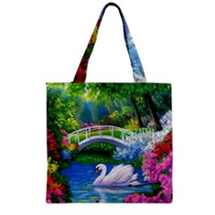 Swan Bird Spring Flowers Trees Lake Pond Landscape Original Aceo Painting Art Grocery Tote Bag by BangZart