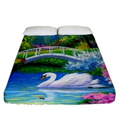 Swan Bird Spring Flowers Trees Lake Pond Landscape Original Aceo Painting Art Fitted Sheet (california King Size)