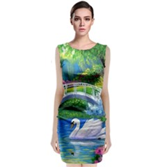 Swan Bird Spring Flowers Trees Lake Pond Landscape Original Aceo Painting Art Classic Sleeveless Midi Dress
