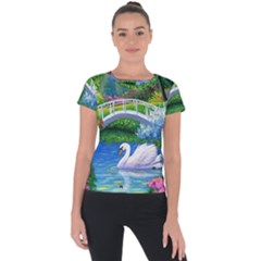 Swan Bird Spring Flowers Trees Lake Pond Landscape Original Aceo Painting Art Short Sleeve Sports Top