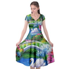 Swan Bird Spring Flowers Trees Lake Pond Landscape Original Aceo Painting Art Cap Sleeve Wrap Front Dress