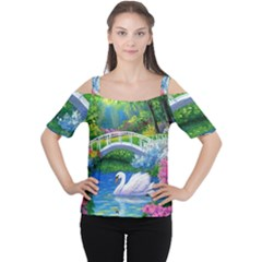 Swan Bird Spring Flowers Trees Lake Pond Landscape Original Aceo Painting Art Cutout Shoulder Tee