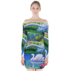 Swan Bird Spring Flowers Trees Lake Pond Landscape Original Aceo Painting Art Long Sleeve Off Shoulder Dress