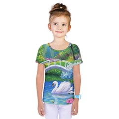 Swan Bird Spring Flowers Trees Lake Pond Landscape Original Aceo Painting Art Kids  One Piece Tee