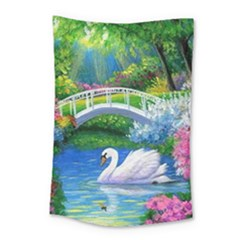 Swan Bird Spring Flowers Trees Lake Pond Landscape Original Aceo Painting Art Small Tapestry