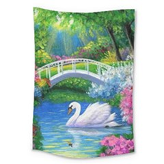 Swan Bird Spring Flowers Trees Lake Pond Landscape Original Aceo Painting Art Large Tapestry