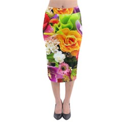 Colorful Flowers Midi Pencil Skirt