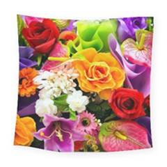 Colorful Flowers Square Tapestry (large)