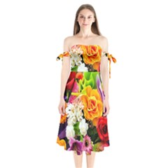 Colorful Flowers Shoulder Tie Bardot Midi Dress