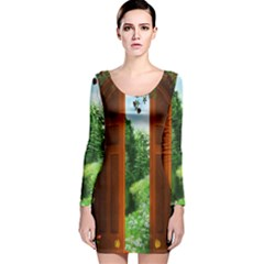 Beautiful World Entry Door Fantasy Long Sleeve Velvet Bodycon Dress by BangZart