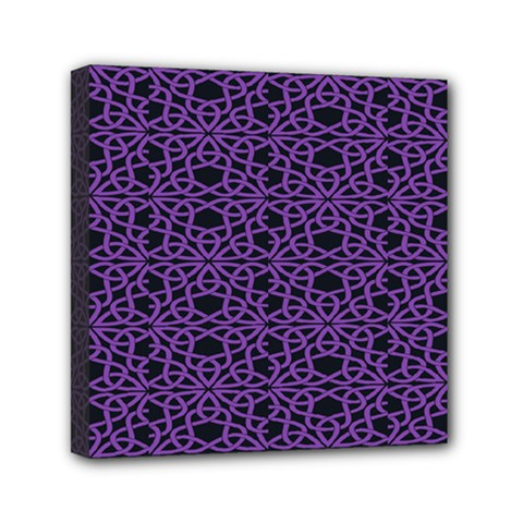 Triangle Knot Purple And Black Fabric Mini Canvas 6  X 6  by BangZart