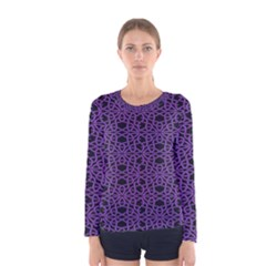 Triangle Knot Purple And Black Fabric Women s Long Sleeve Tee