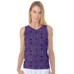 Triangle Knot Purple And Black Fabric Women s Basketball Tank Top