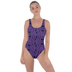 Triangle Knot Purple And Black Fabric Bring Sexy Back Swimsuit