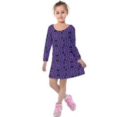 Triangle Knot Purple And Black Fabric Kids  Long Sleeve Velvet Dress