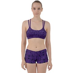 Triangle Knot Purple And Black Fabric Women s Sports Set