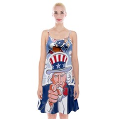 Independence Day United States Of America Spaghetti Strap Velvet Dress