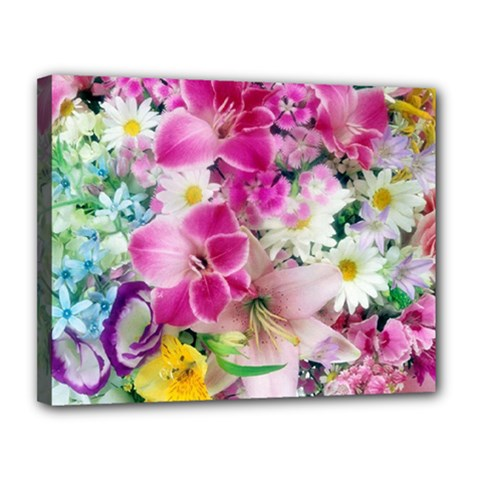 Colorful Flowers Patterns Canvas 14  X 11  by BangZart