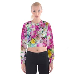 Colorful Flowers Patterns Cropped Sweatshirt