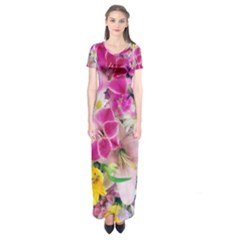 Colorful Flowers Patterns Short Sleeve Maxi Dress