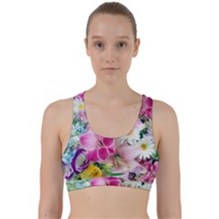 Colorful Flowers Patterns Back Weave Sports Bra