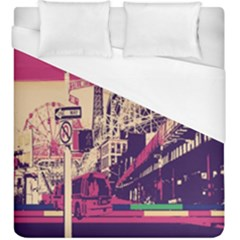Pink City Retro Vintage Futurism Art Duvet Cover (king Size)